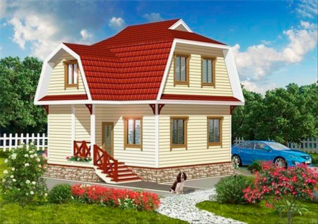Фото: Дом из бруса с мансардой №4